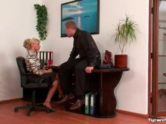 He shows his cock to two sexy girls in office videos