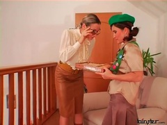 Girl selling cookies to a sexy blouse mistress videos