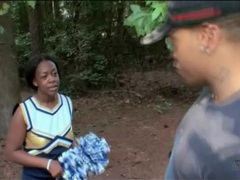Black cheerleader gives great blowjob in the woods videos