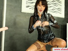 Cum drenched bukkake babe slimed movies at freelingerie.us