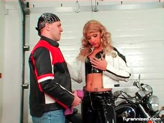 Biker babe in latex pants wants her boots licked tubes