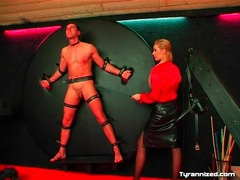 Man on the wheel of pain for leather skirt mistress movies at find-best-hardcore.com