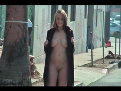 Big tits chick in overcoat flashing tits in public videos