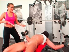 Trainer abuses him while he works out with her movies at adipics.com