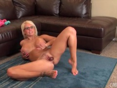 Busty blonde in glasses masturbates solo movies at find-best-panties.com