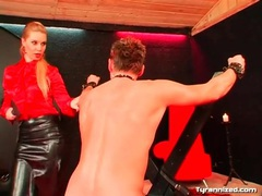 Mistress makes him ride toy and flogs him movies at sgirls.net