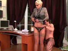 Sub guy in ripped pantyhose spanked by mistress movies