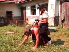 Cowgirl rides him like a pony outdoors videos