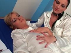 White satin pajamas are sexy on lesbians movies at adipics.com