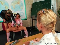 Cute schoolgirl in pigtails shows her pussy videos