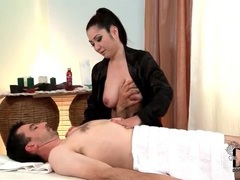 Masseuse in black satin robe blows him videos