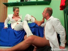 Footjob from beauty in white satin pants videos