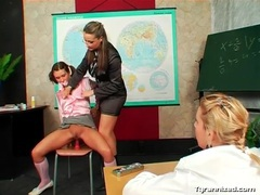 Satin schoolgirl in pigtails sits on a pink dildo movies