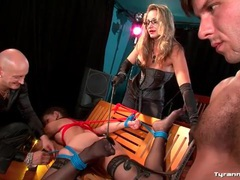Guy sucks dildo while his girlfriend is tied up videos