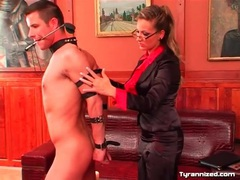 Mistress collars and binds her submissive man videos