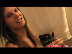 Dildo fucks her asshole in the bathroom movies at relaxxx.net