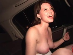 Teen shows her tits and toy fucks in the car videos