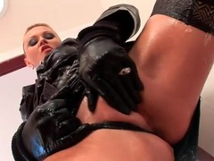 Gloves and skirt on hot slut that rides his cock videos