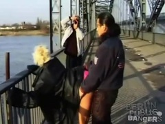 Girl walks on the bridge to have public sex videos