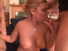 Pierced tits curvy girl and two dicks get it on videos
