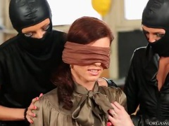 Redhead in satin blouse vibrated by toys videos