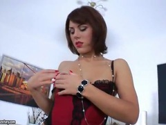 Lipstick lady in lingerie takes toy in the ass movies at kilotop.com