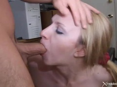 Banging cutie in the home office and cumming tubes