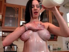 Sexy natural tits girl pours milk on her body videos