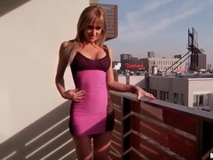 Girl with gorgeous body models skintight dress clip