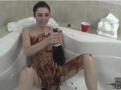 Solo teen covered in slippery chocolate sauce videos