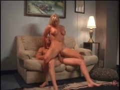 Cute blonde with curves rides him and bends over videos