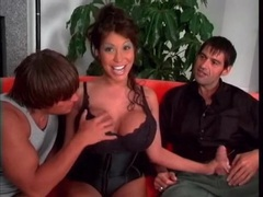 Ava devine gives wet blowjobs in threesome movies at lingerie-mania.com