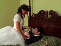 Two angry brides in dresses have a catfight movies at freekilosex.com