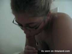 Curvy girl in sexy glasses sucks on dick videos