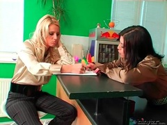 Ladies in satin blouses have a pen fight movies at adspics.com