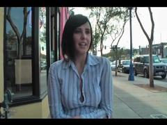 Girl unbuttons her top and flashes in public movies at sgirls.net