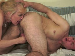 Jerked off and rimmed out by mature blonde tubes