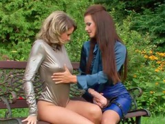Hot lesbians strip to satin blouses outdoors movies at find-best-babes.com