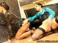 Bukake lesbian eating slimy pussy and loves it movies at lingerie-mania.com