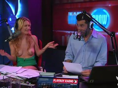 Topless blonde girl does radio interview tubes