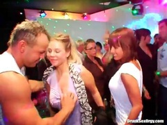 Male dancers blown by beautiful women at party clip