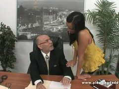 Young slutty secretary fucks old boss videos