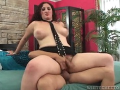 Curvy woman sits thick bush on his boner and rides videos
