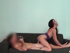 Lean brunette is one hell of a cock riding hottie videos