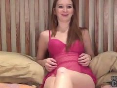 Teen in pink lingerie makes her cunt squirt videos