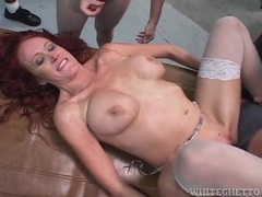 Mommy takes cocks in an interracial gangbang movies at sgirls.net