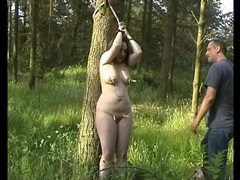 Fat girl tied in the woods likes great pain movies at kilopills.com