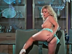 Blonde in tiny skirt fondles her sexy breasts movies at kilopills.com