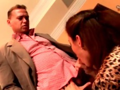 Girl in leopard print blouse sucks and fucks videos