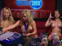 Red lingerie girl gets naked on the radio show movies at lingerie-mania.com